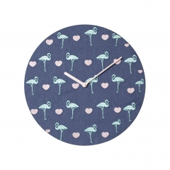 MDF quartz wall clock with flamingo graphic on the fabric dial